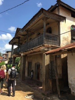 Figure 1. Exploring the rich historic architecture of India Street, Pangani. Photo: Dav Smith (click to enlarge).