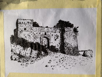 Fig 5. Kat's sketches of palace on Kilwa
