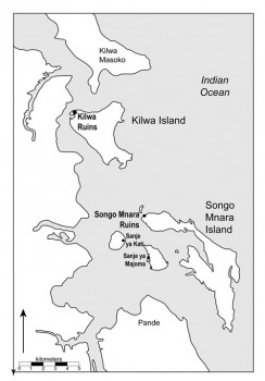 Ramani 1: Ramani inayoonyesha eneo la Kilwa Kisiwani na Songo Mnara. Figure 1: Map showing the location of Kilwa Kisiwani and Songo Mnara. (at bottom of document with link for referencing)